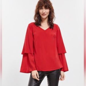 Red Blouse Tier Long Sleeves Blouse Size Medium